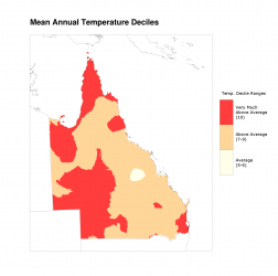 Decile for mean annual temperature, 2012–2016
