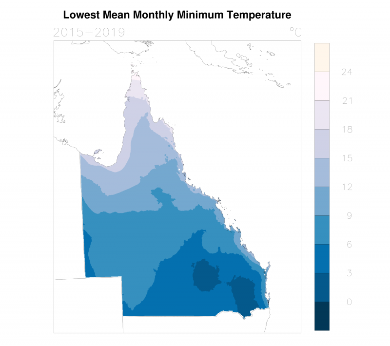 Lowest mean daily minimum temperature for any month in the 2015 to 2019 period