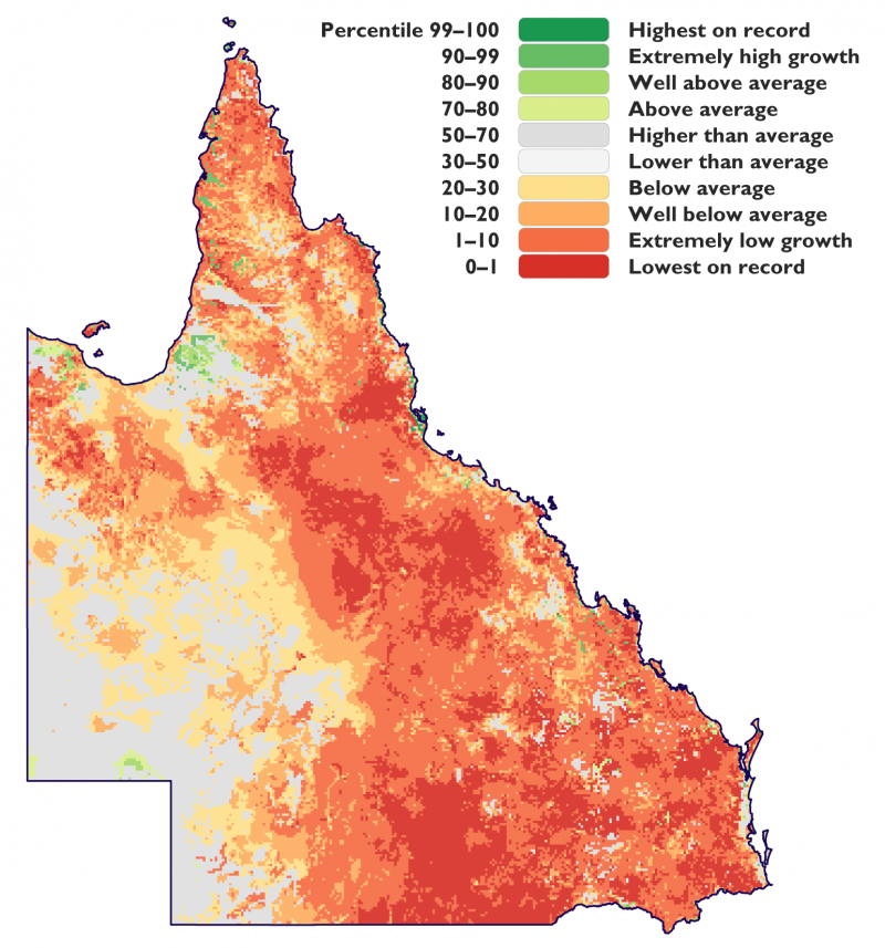 Percentile of Pasture Growth in Queensland between 2012 and 2020.