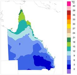Lowest minimum monthly air temperature, 2012-2015