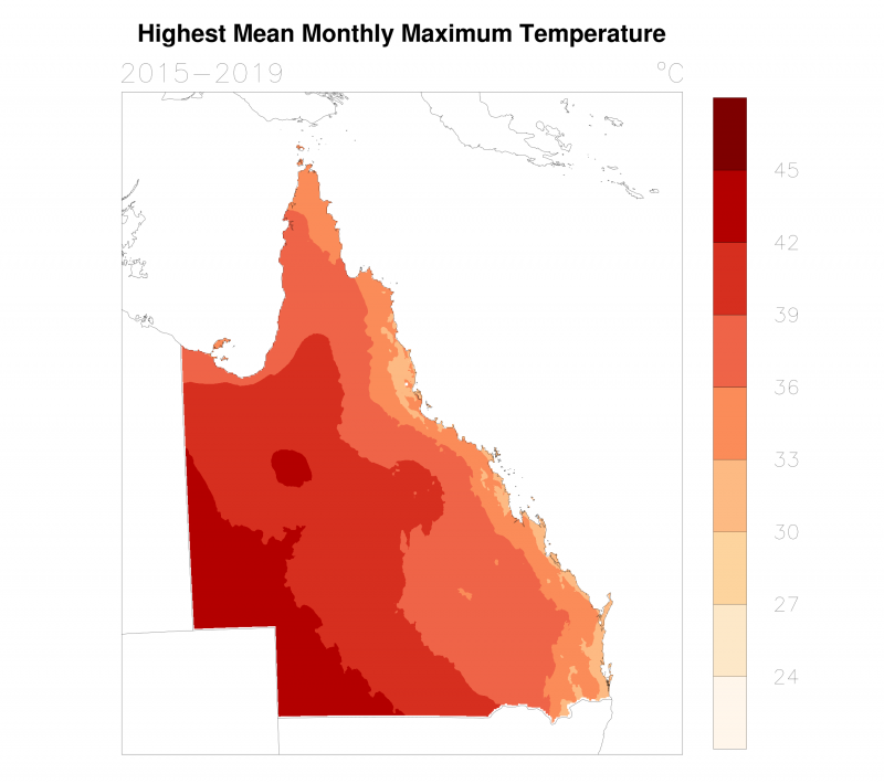 Highest mean daily maximum temperature for any month in the 2015 to 2019 period