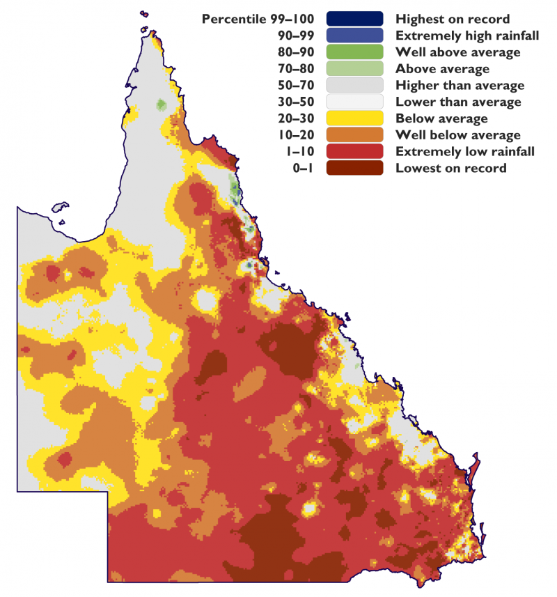 Percentile of rainfall in Queensland between 2012 and 2020.