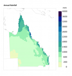 Average annual rainfall, 2012–2016